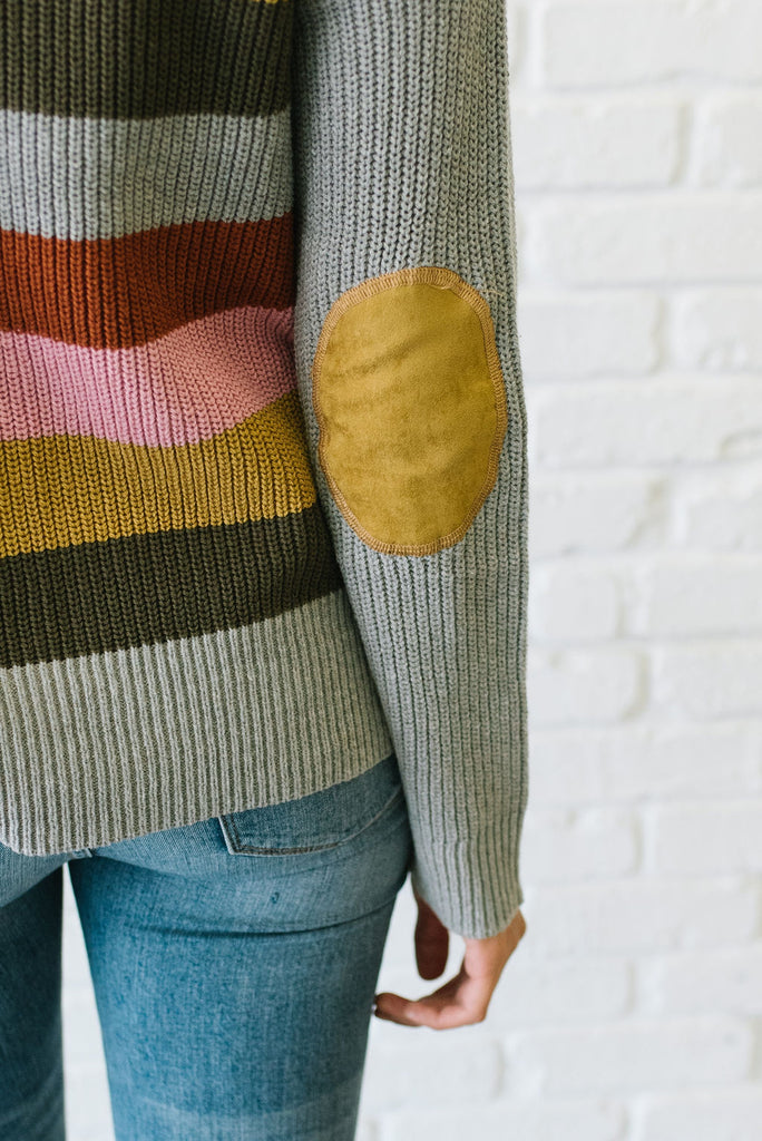 AVERY MULIT-COLOR SWEATER WITH SUEDE ELBOW PATCHES