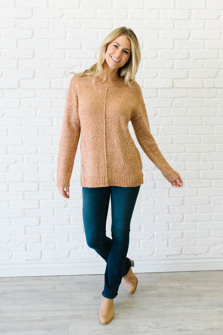 CAMERON BRUSHED 2-TONE SWEATER IN RUST AND OATMEAL