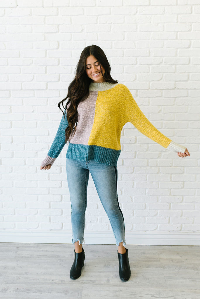 ANNIE MOCK NECK COLOR BLOCK SWEATER