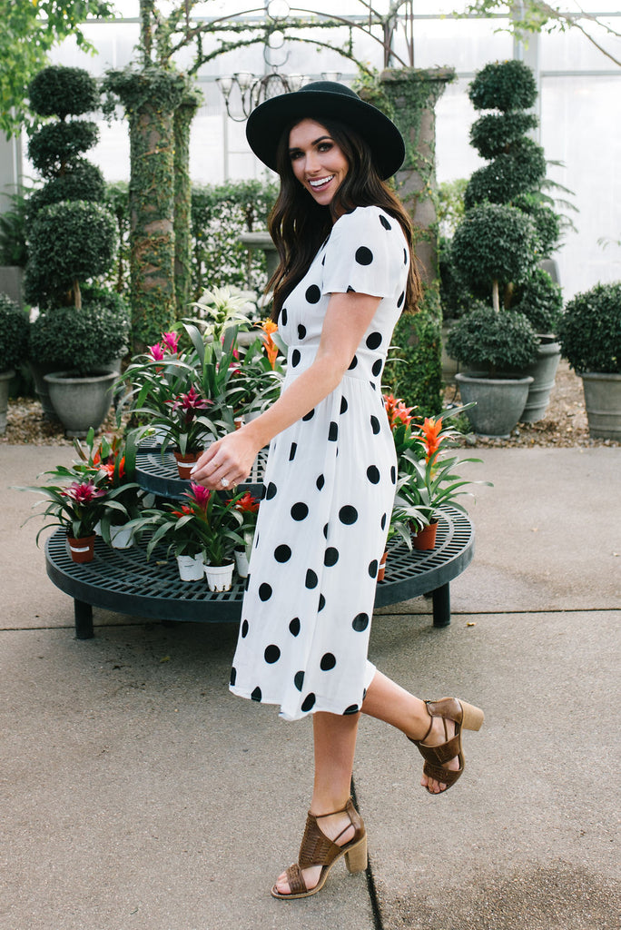 ZOE POLKA DOT DRESS IN WHITE