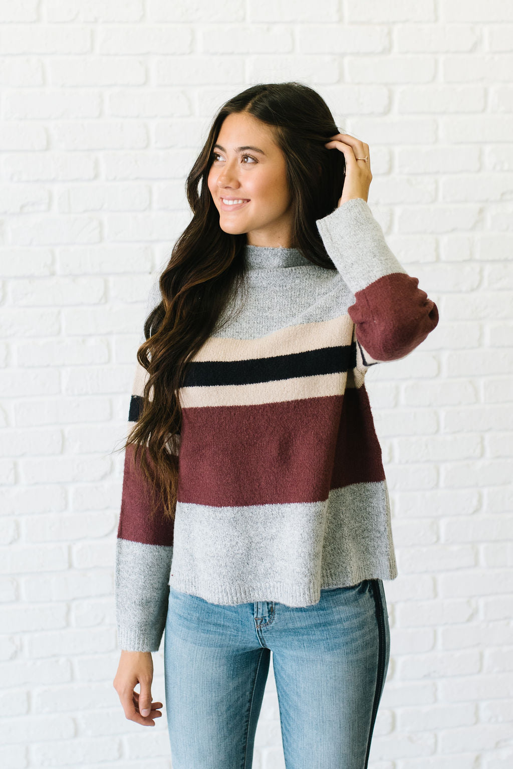 LULU MOCK NECK SWEATER WITH COLOR BLOCK PATTERN