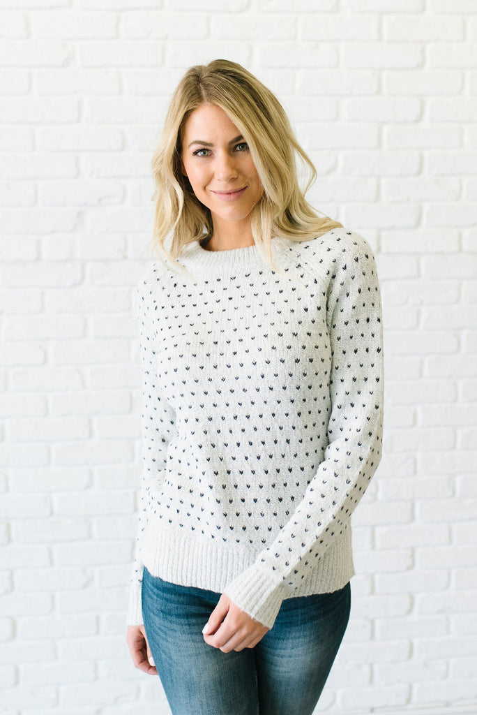 REBECCA SWEATER IN GREY WITH NAVY ACCENTS