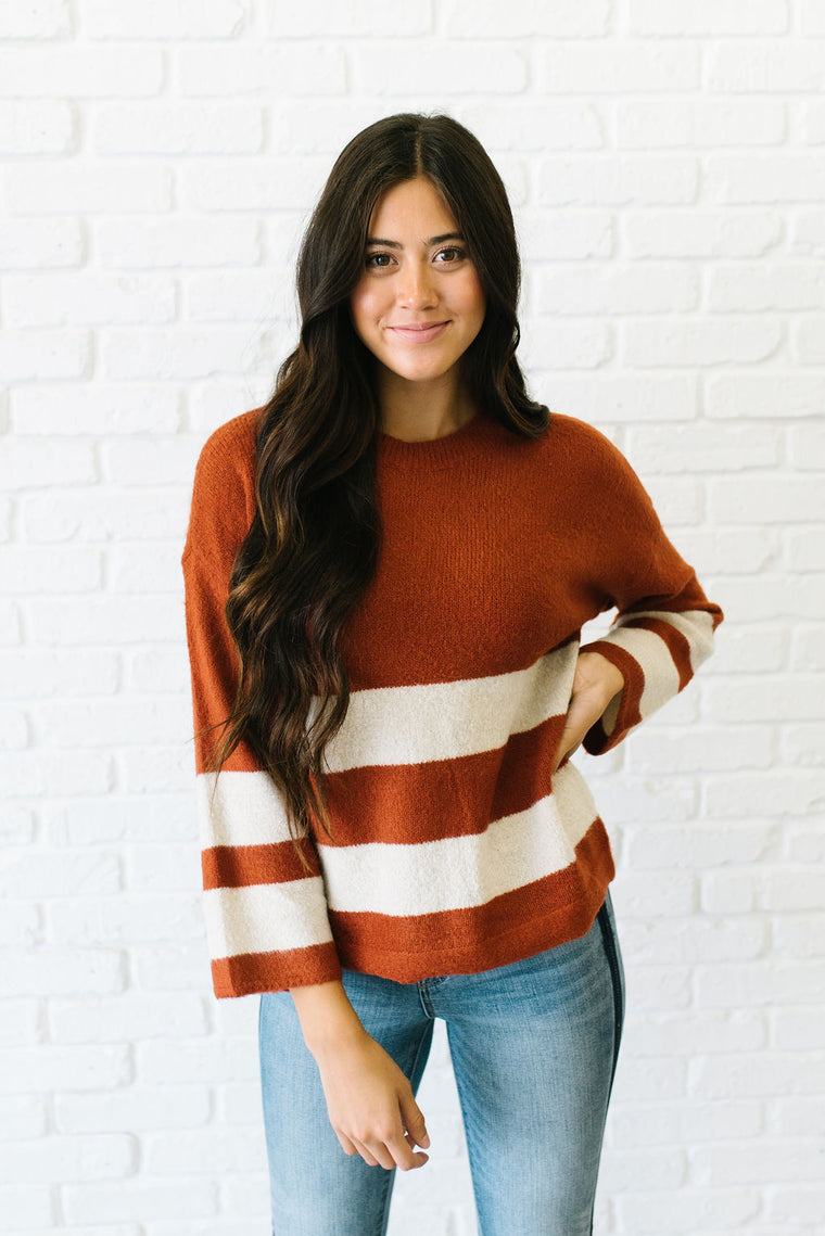 PENELOPE  COLOR BLOCK SWEATER IN RUST AND IVORY