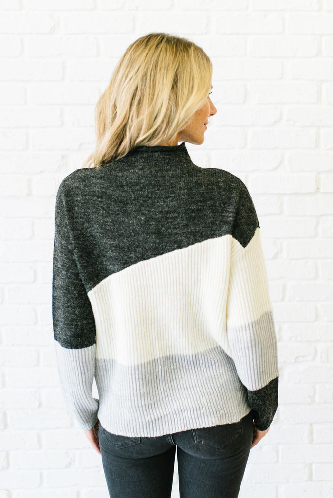 ALLIE MOCK T-NECK COLOR-BLOCK SWEATER IN CHARCOAL