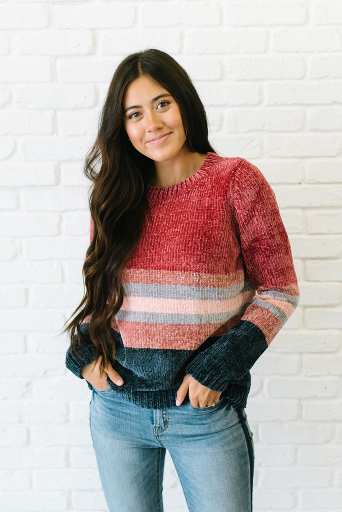 ADLEY COLOR BLOCK SWEATER IN MAUVE, GREY, NAVY AND ROSE