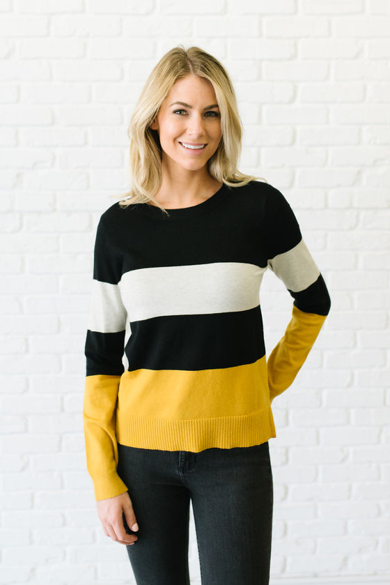 TAMARA COLOR BLOCK SWEATER IN BLACK, CREAM AND MUSTARD