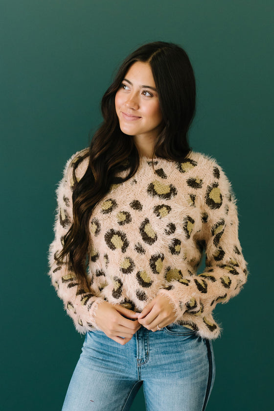 BROOKLYN EYELASH TEXTURE SWEATER IN BLUSH