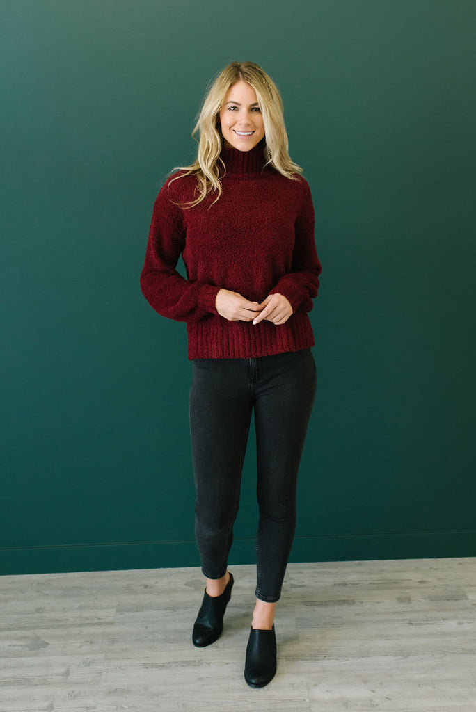 SADIE MOCK NECK SWEATER IN RASPBERRY