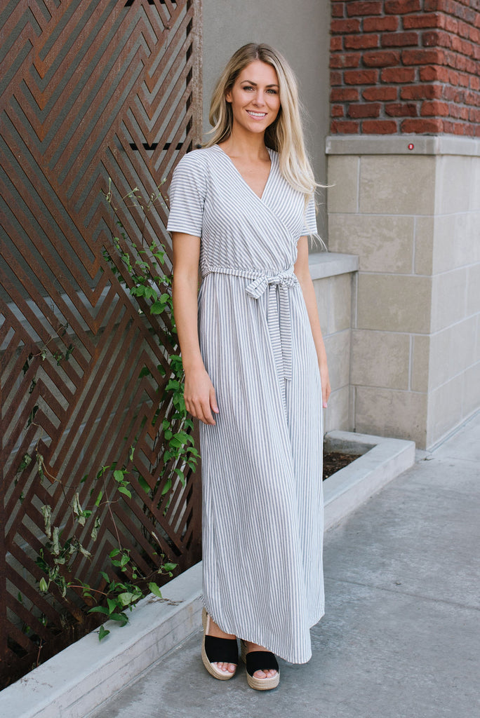 AUBREY MAXI DRESS IN GREY AND WHITE STRIPES