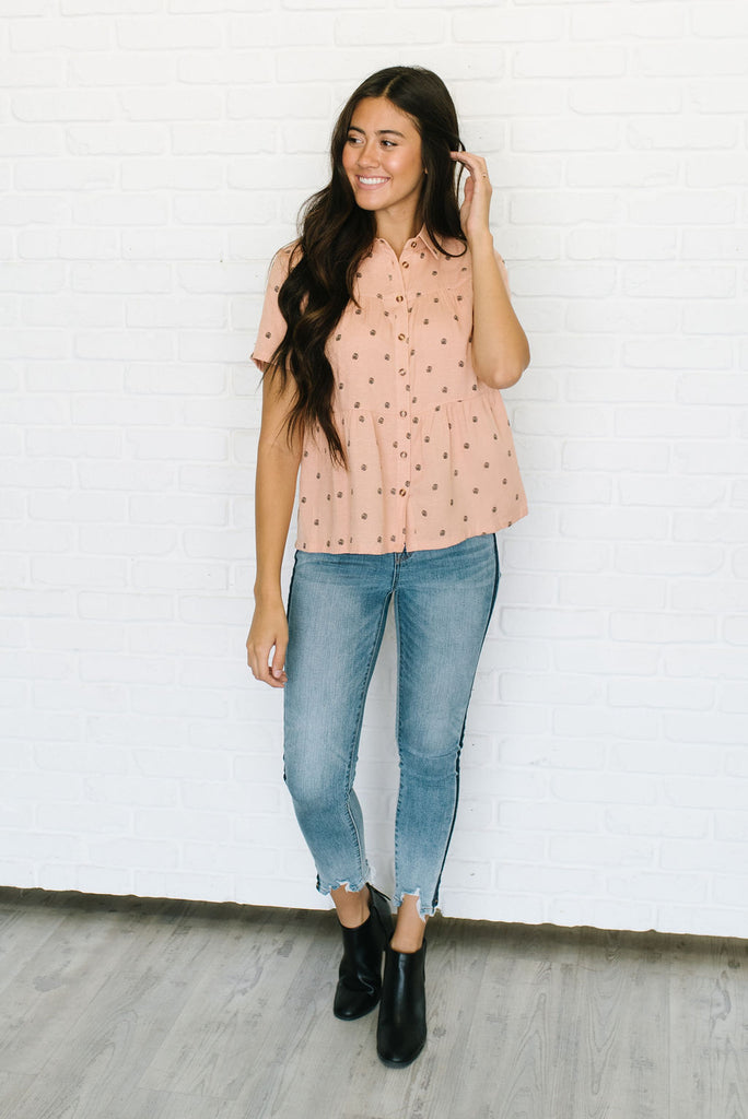 ELENA TIERED TOP IN SALMON