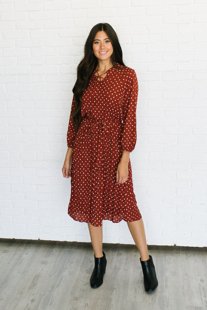 KATIE MIDI POLKA DOT DRESS WITH NECK TIE IN CINNAMON