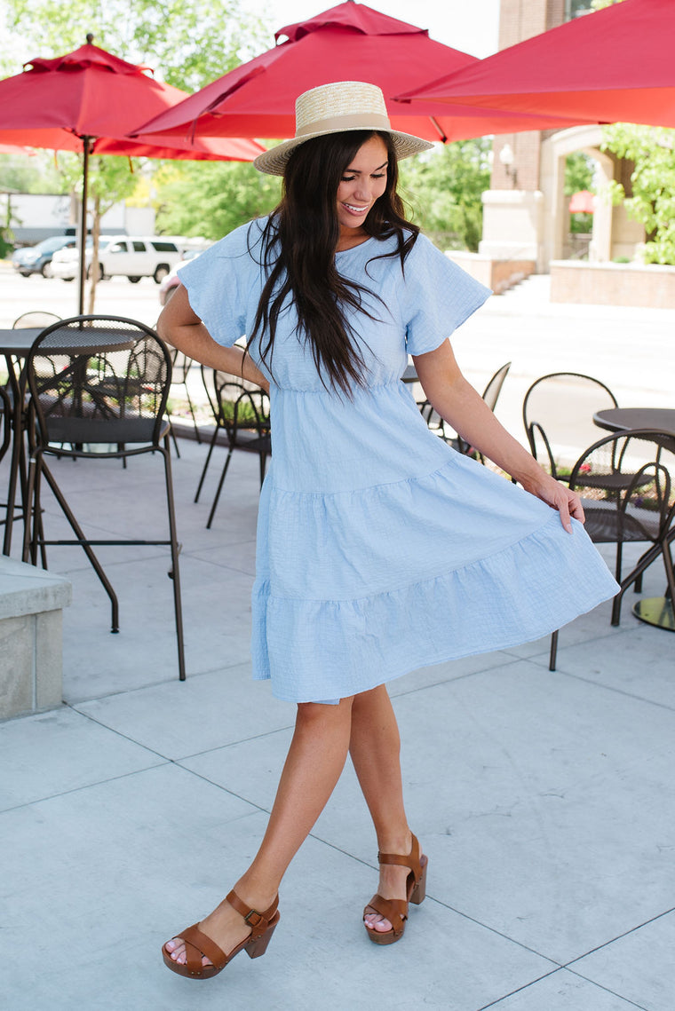 LESLIE TIERED SKIRT MIDI DRESS IN LIGHT BLUE
