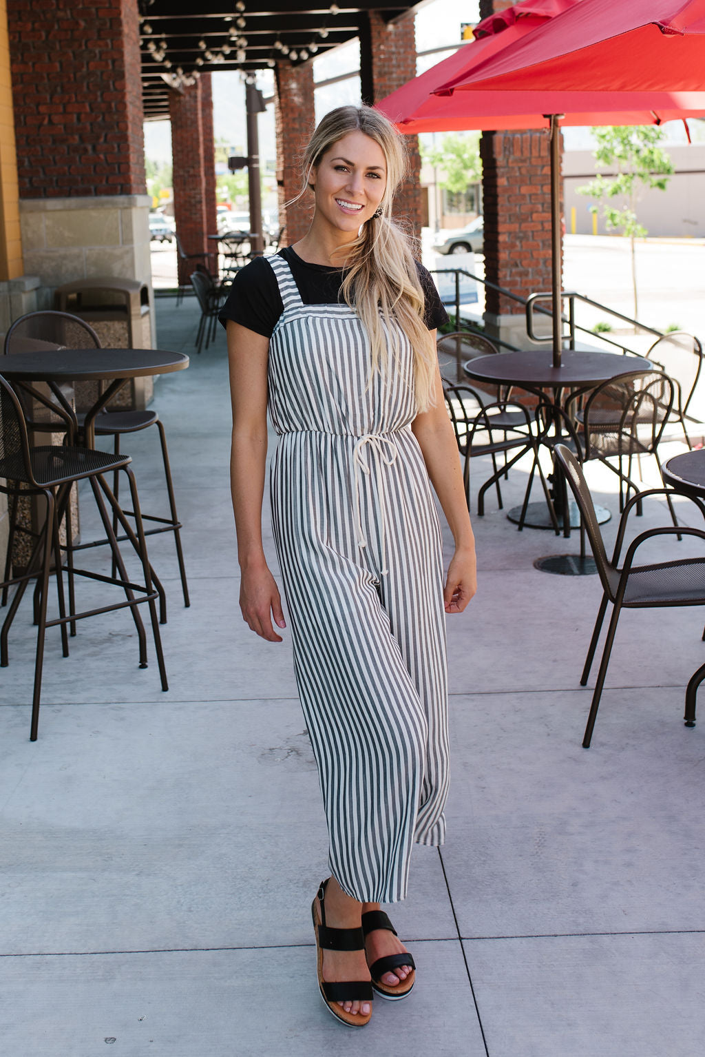 EILEEN DRAWSTRING JUMPER IN GREY AND WHITE STRIPES