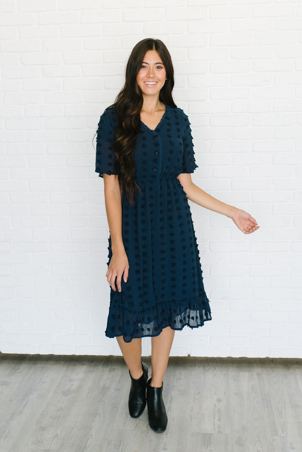 MYKEN MIDI POM POM DRESS IN NAVY