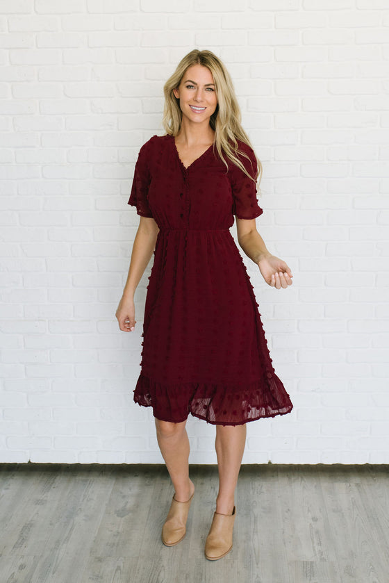 MYKEN MIDI POM POM DRESS IN BURGUNDY