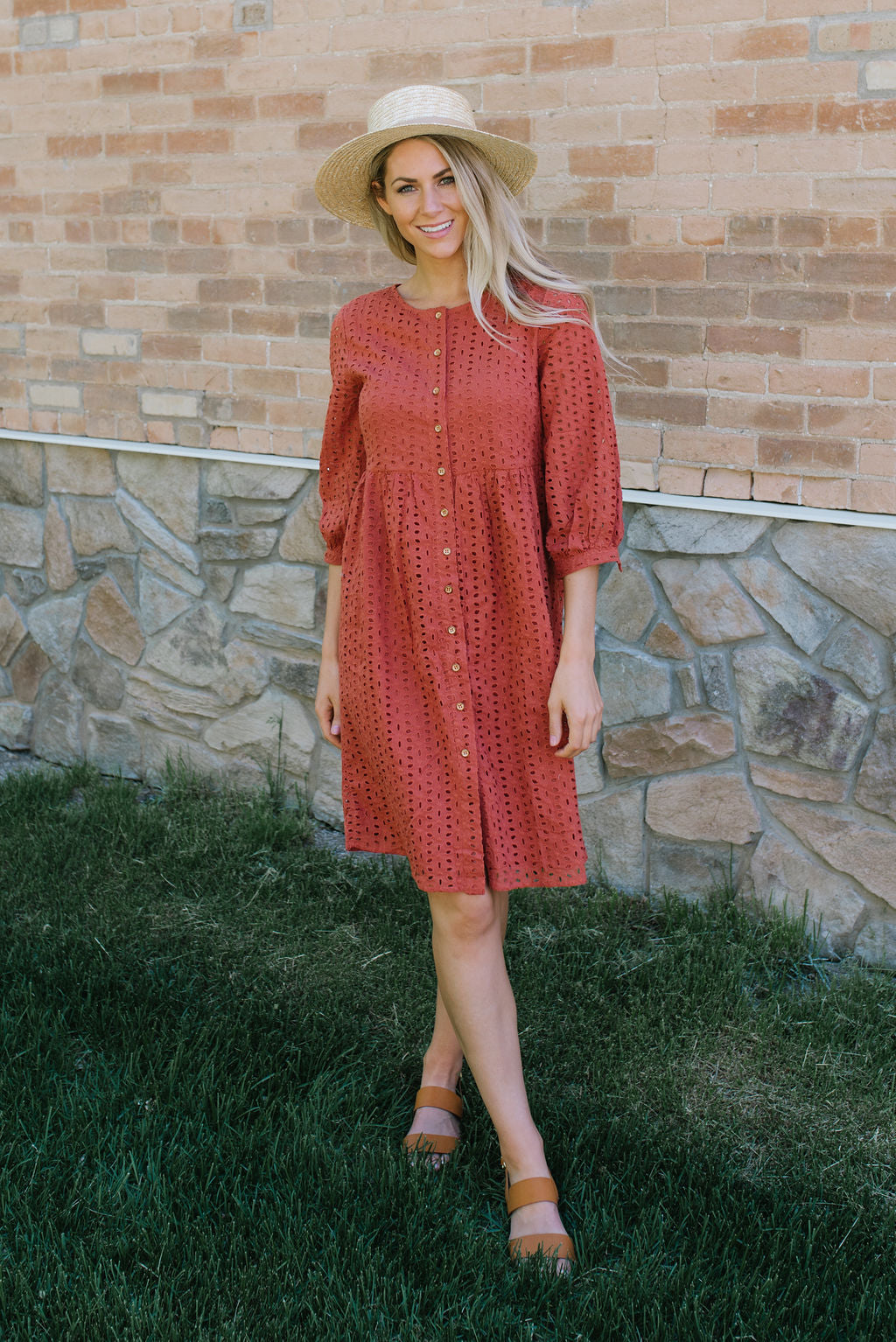 CLAUDIA EYELET MIDI DRESS IN RUST