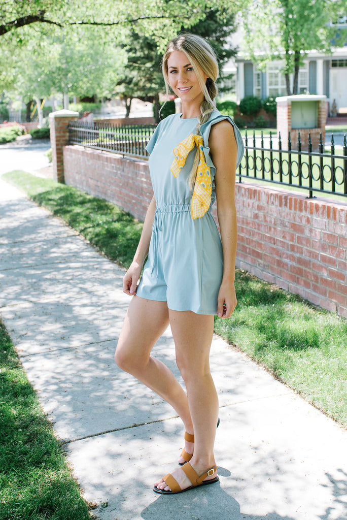 JENNIE ROMPER IN SLATE BLUE