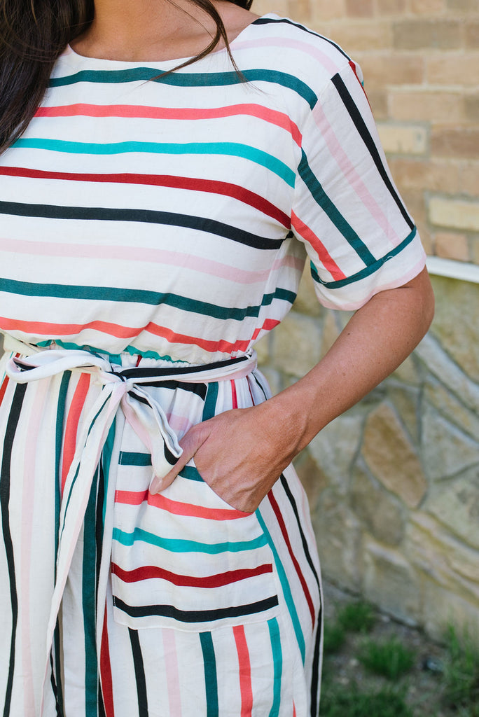 KERI MIDI DRESS IN STRIPES