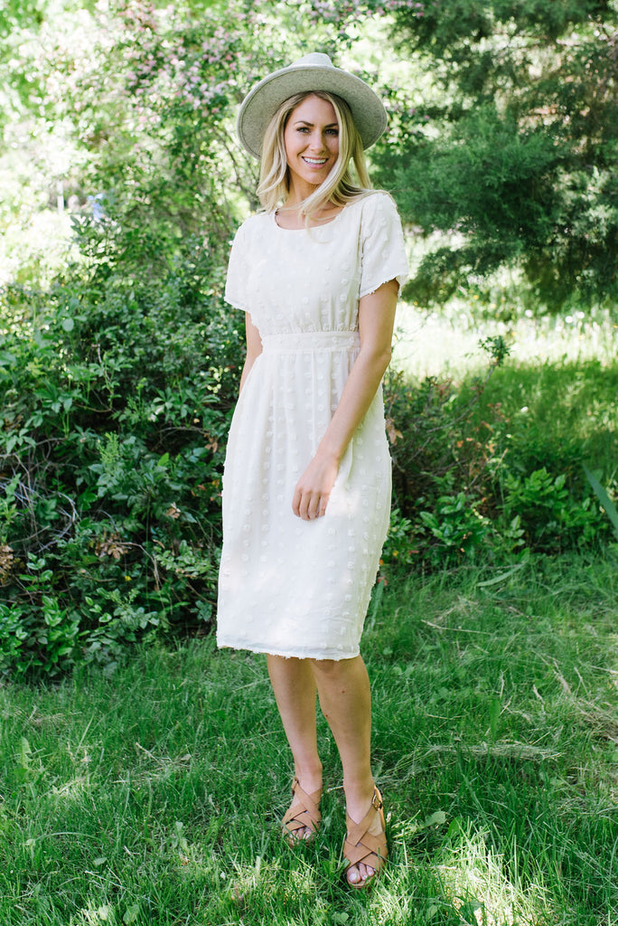 MADELYN POM POM DRESS IN CREAM
