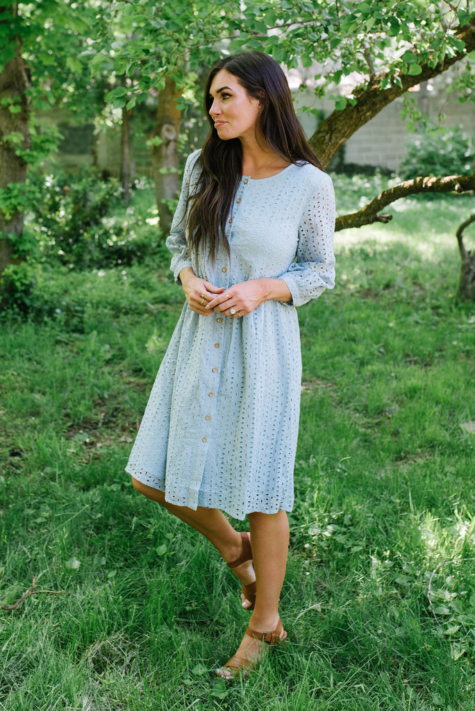 CLAUDIA EYELET MIDI DRESS ASH BLUE