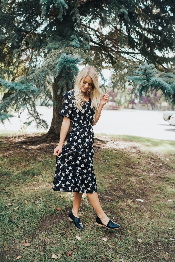 Shanna Floral Dress In Black - Dress
