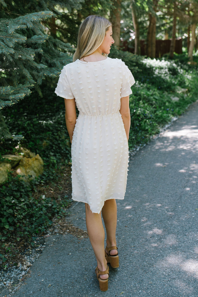 CHRISTINE MIDI POM POM DRESS IN CREAM