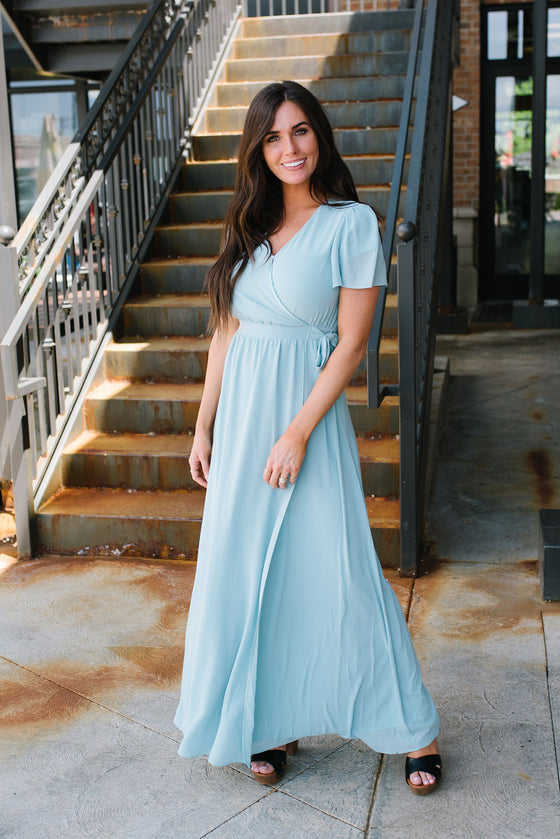 MARILYN FRONT WRAP MAXI DRESS IN BLUE