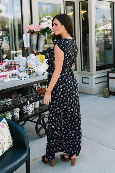 289e7a3bb56 JOAN MAXI DRESS IN BLACK WITH FLORAL PRINT  45.99