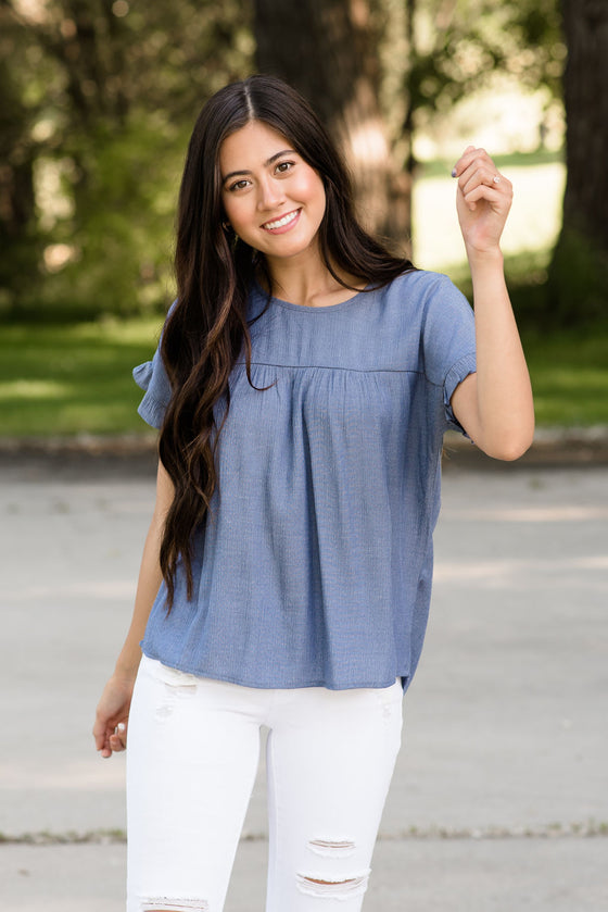 DALLAS PEPLUM TOP IN DENIM BLUE