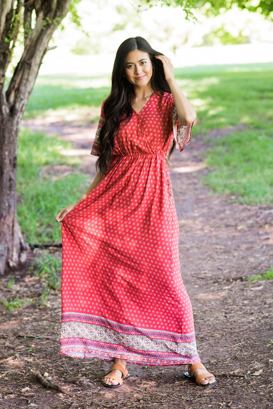 PERRY MAXI DRESS IN CORAL