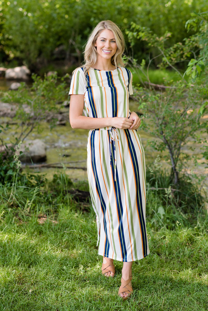 ADDISON MAXI DRESS IN GREEN, NAVY AND ORANGE STRIPES