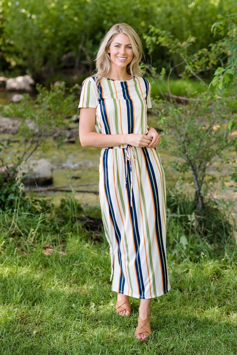 3a806c315 ADDISON MAXI DRESS IN GREEN, NAVY AND ORANGE STRIPES