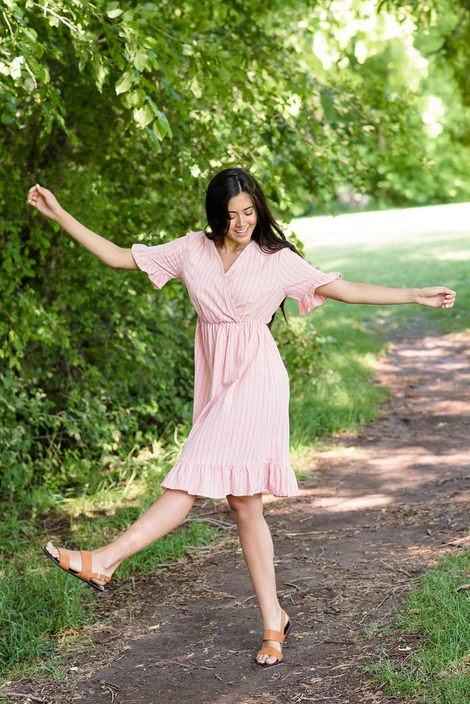 MARISSA COTTON DRESS IN PINK WITH BLACK PINSTRIPES