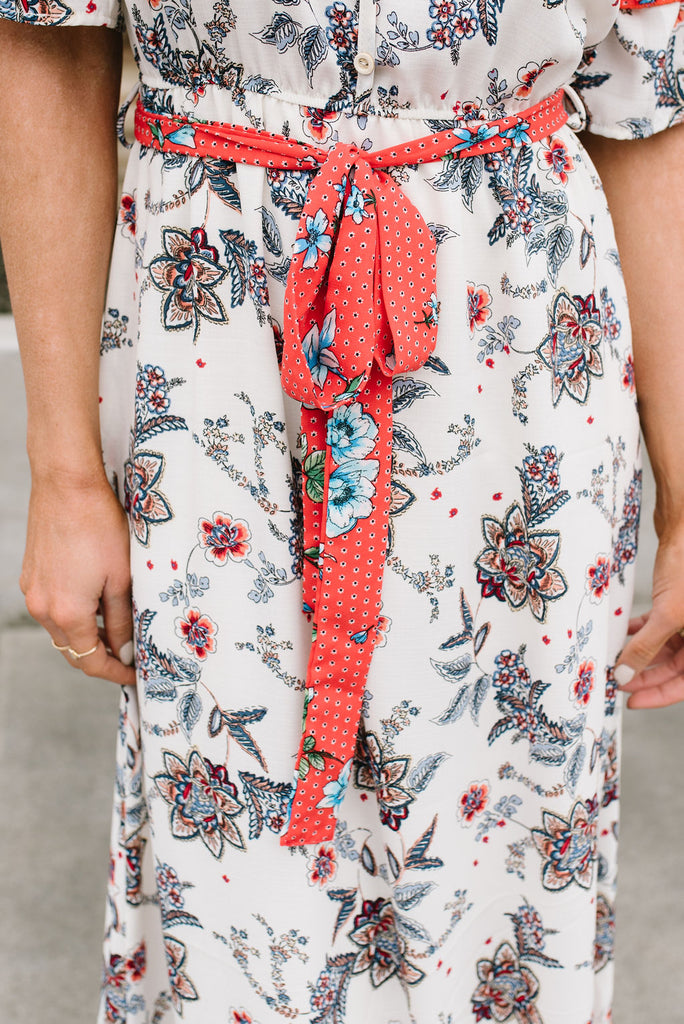 JOY MAXI DRESS IN IVORY FLORAL WITH RED ACCENTS