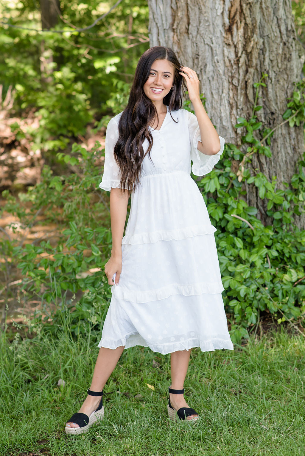 HILARY MIDI RUFFLE-TIERED DRESS IN WHITE