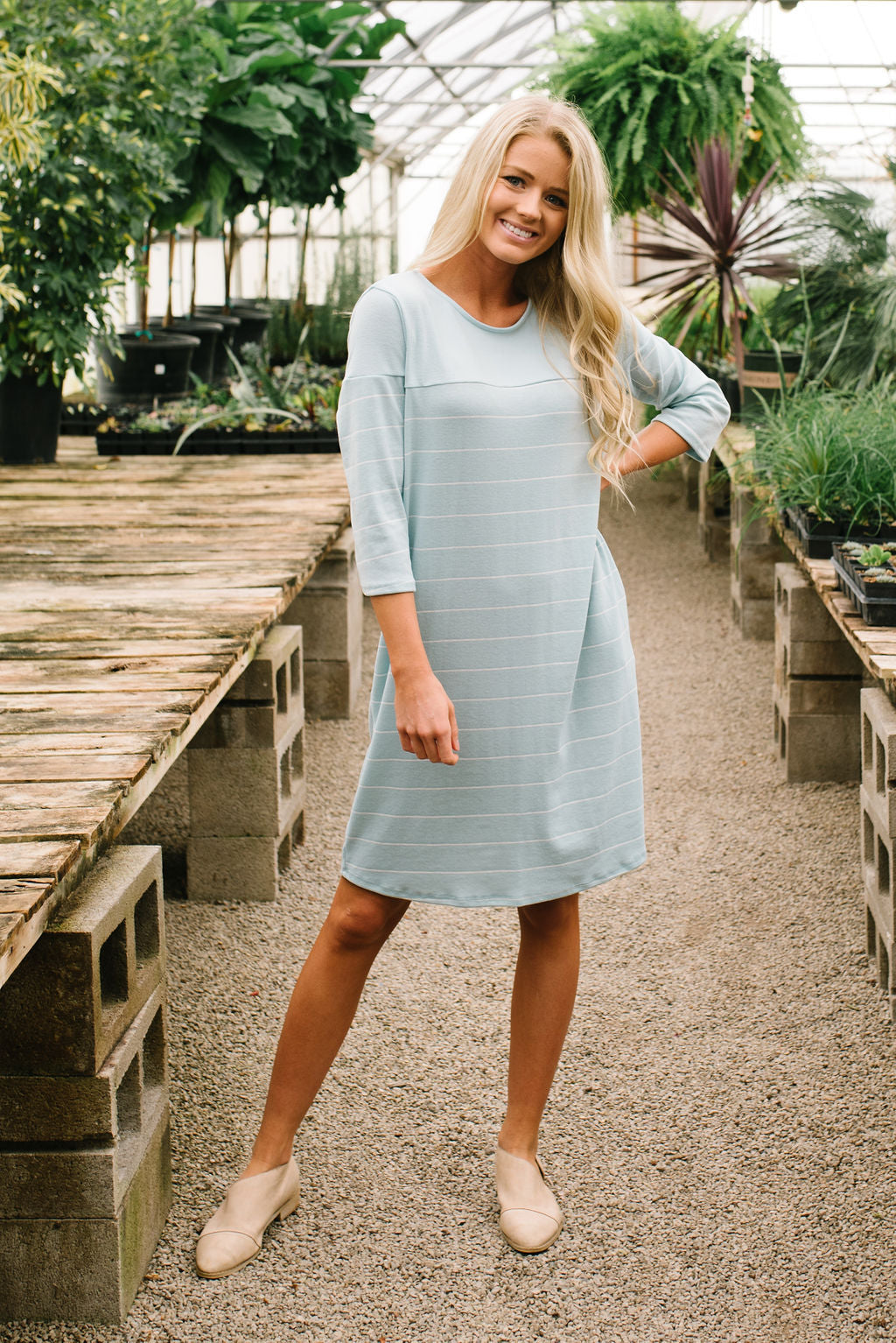 ASHLAND BUTTON BACK T-SHIRT DRESS IN ROBIN BLUE