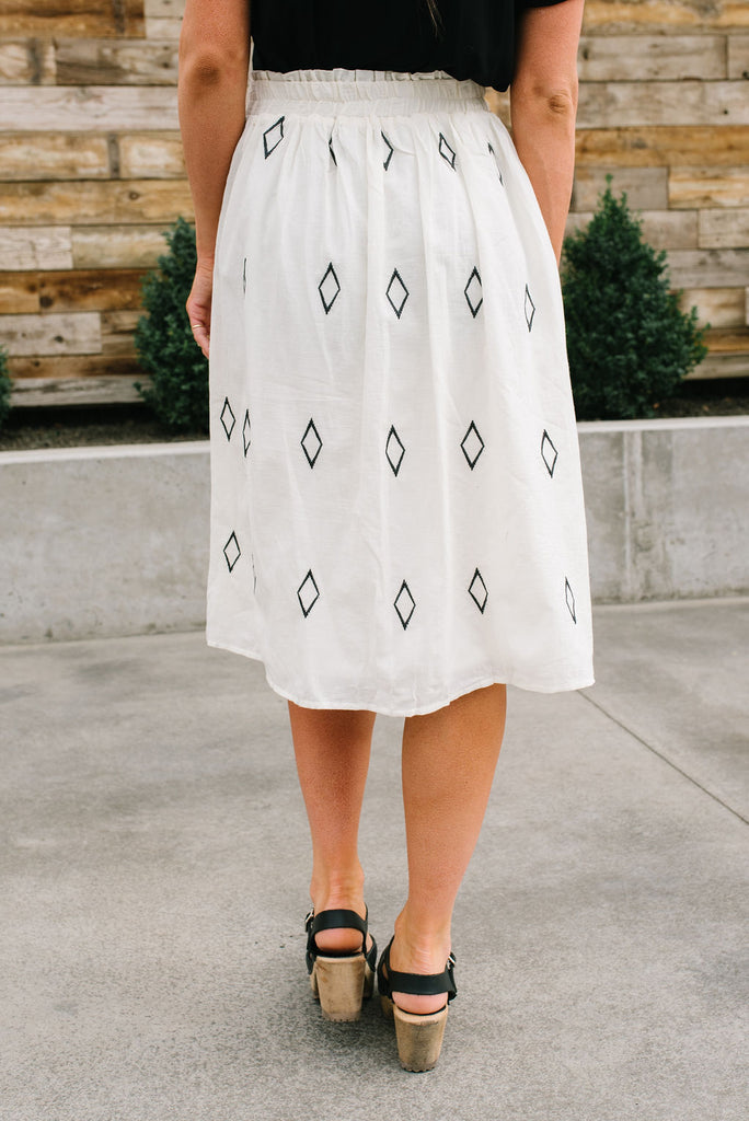 DILLON CREAM SKIRT WITH BLACK DIAMONDS