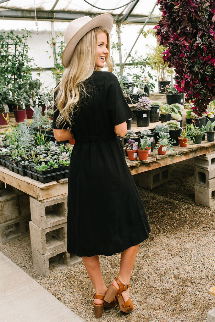 LISA WRAP MIDI DRESS IN BLACK
