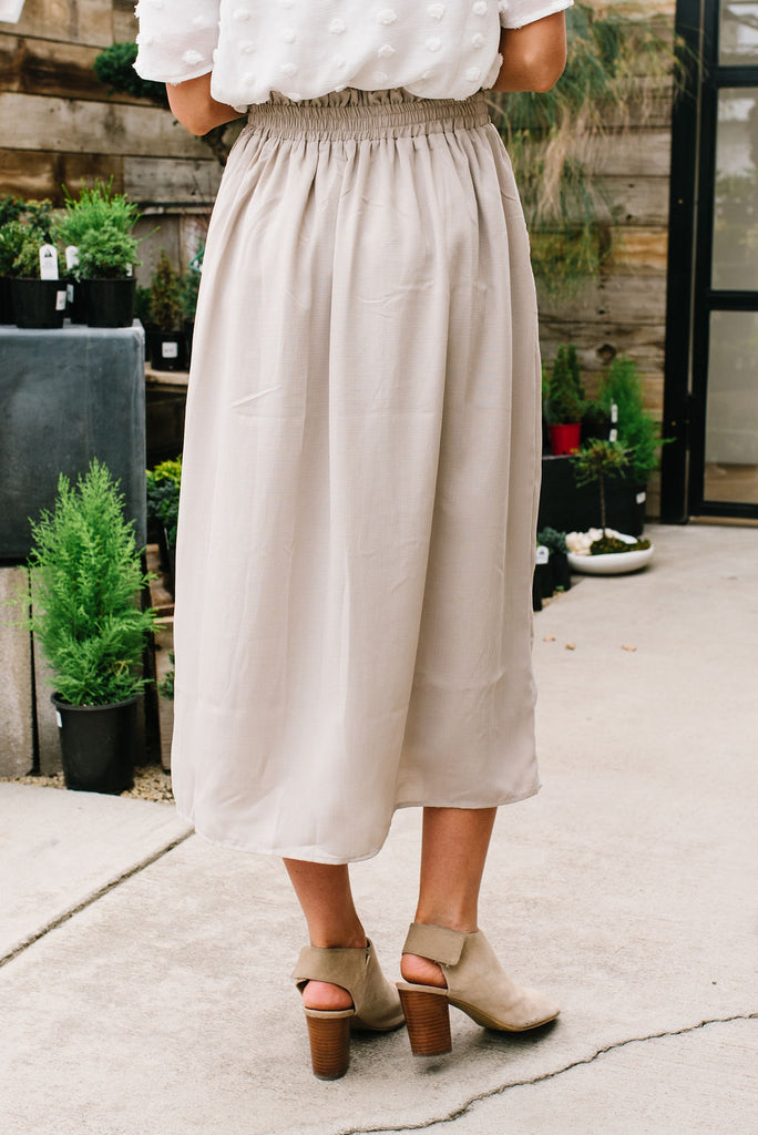 ROMA CINCH-WAIST MIDI SKIRT IN LIGHT BEIGE