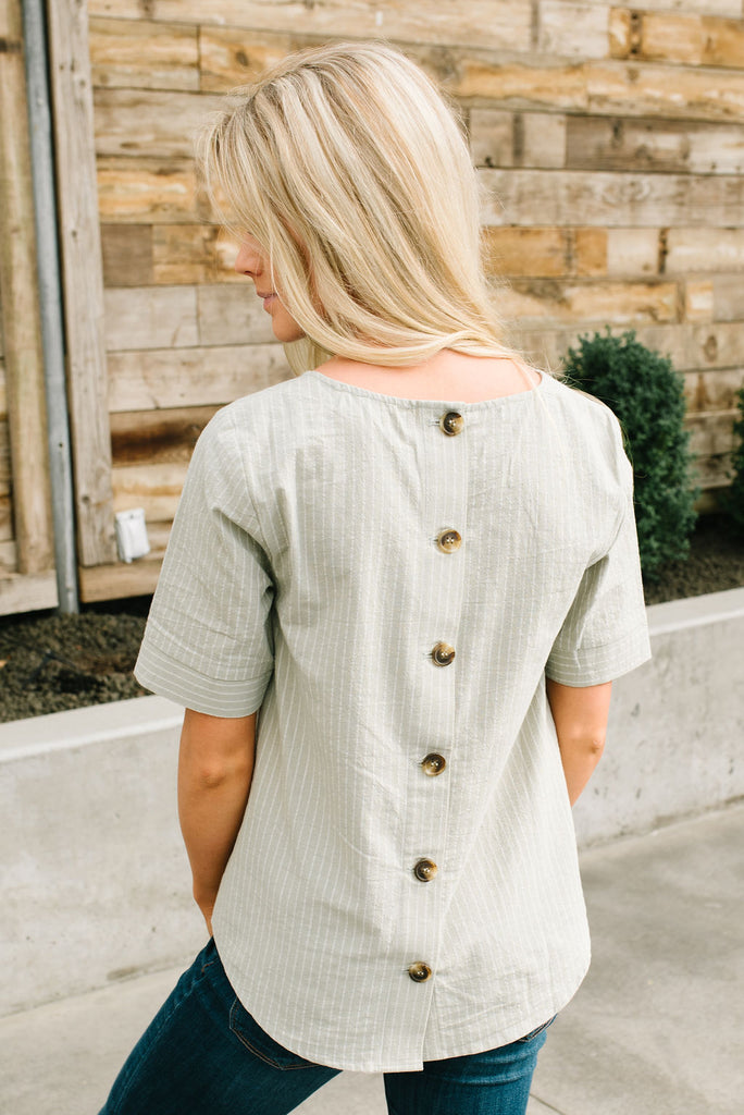 YVETTE BUTTON BACK TOP IN SAGE