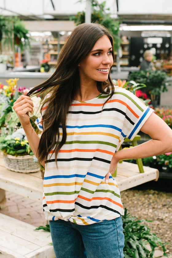 HANNAH FRONT-TIE STRIPED TOP IN MUSTARD AND OLIVE GREEN