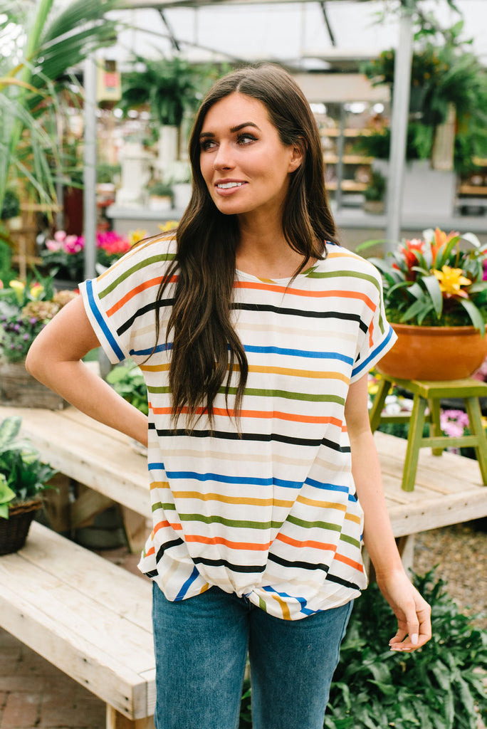 HANNAH TIE-FRONT STRIPED TOP IN MUSTARD AND OLIVE GREEN