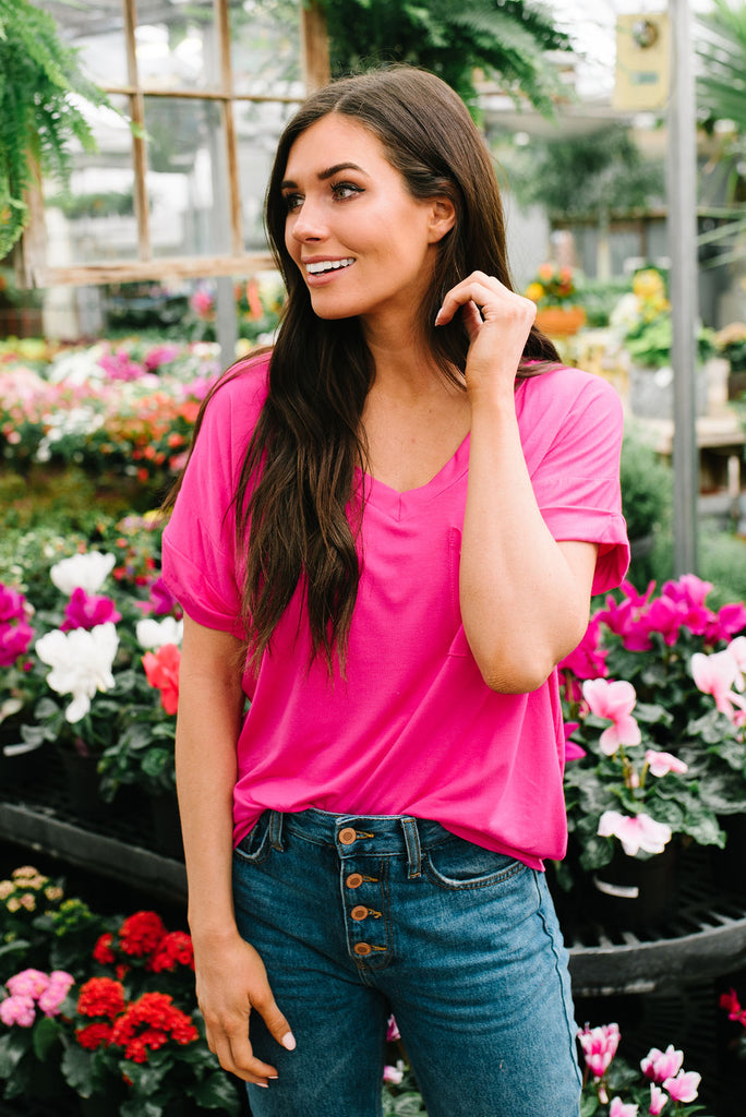 ASHLEY V-NECK TEE IN HOT PINK