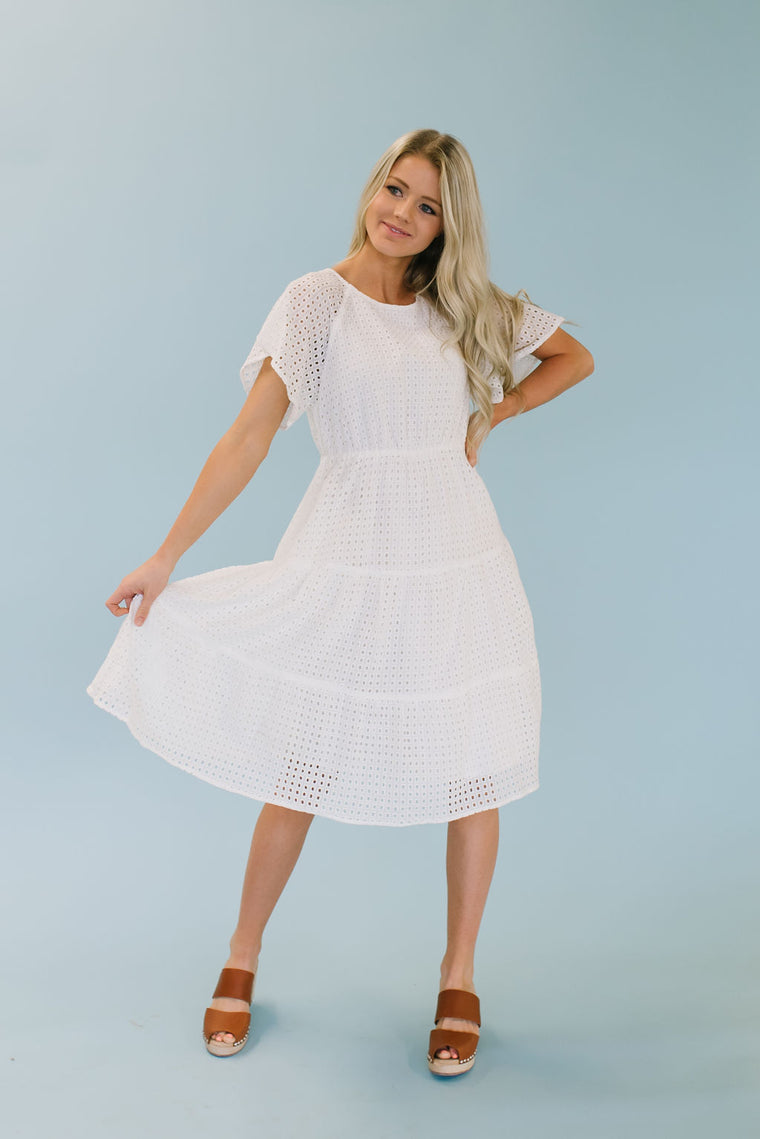 ADELAIDE EYELET EMBROIDERED MIDI DRESS IN WHITE