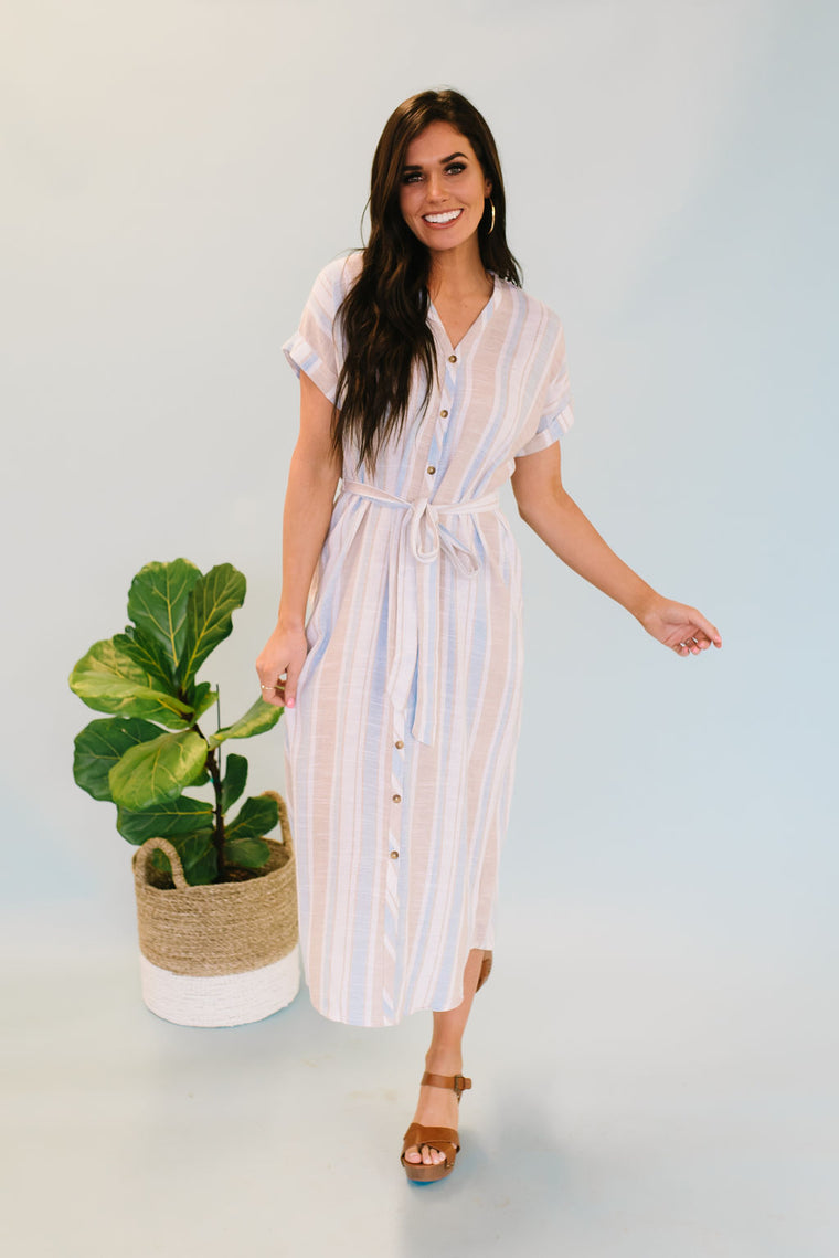 CHLOE DRESS IN LIGHT BLUE AND TAUPE STRIPES
