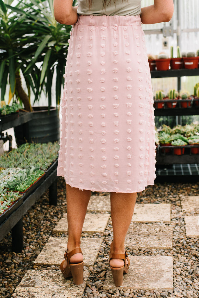 RACHEL POM POM SKIRT IN BLUSH