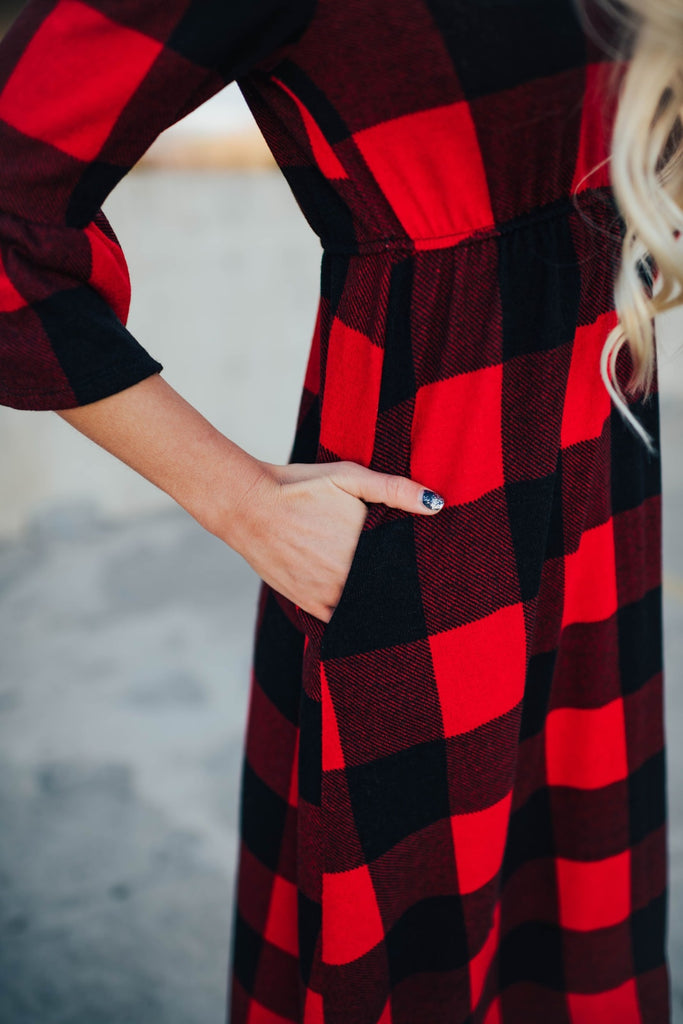 Tabitha Dress In Red Plaid - Dress