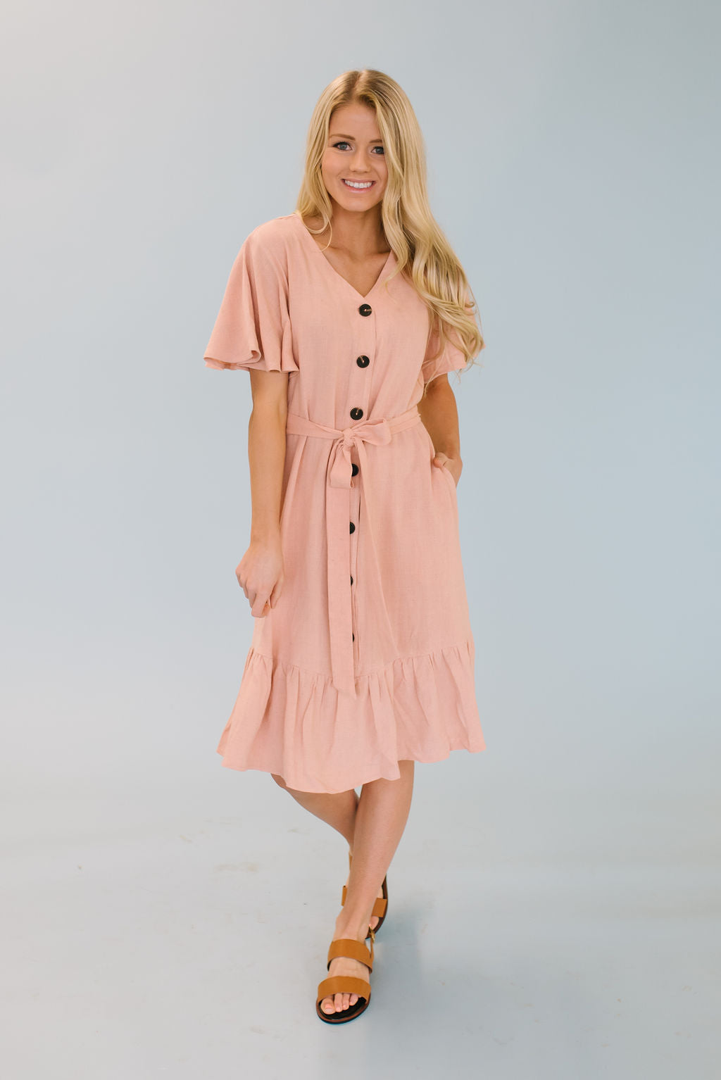 TAITE MIDI RUFFLE DRESS IN BLUSH