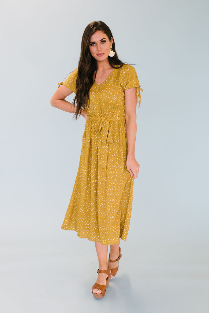 JENNA MIDI DRESS WITH TIE-UP SLEEVES IN TUSCAN GOLD
