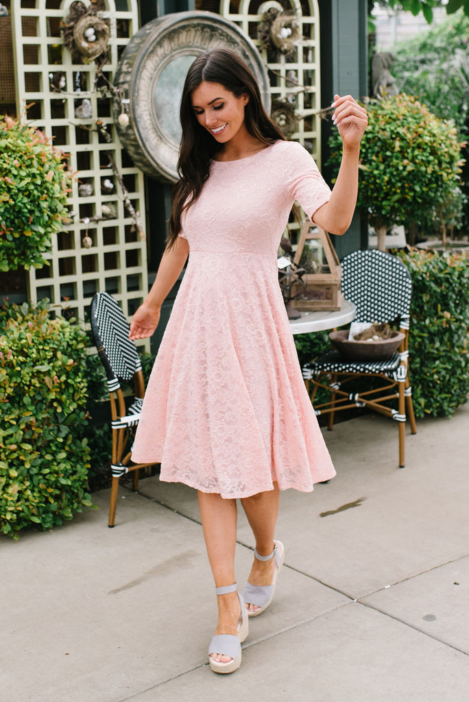 SOPHIE MIDI LACE DRESS IN BLUSH